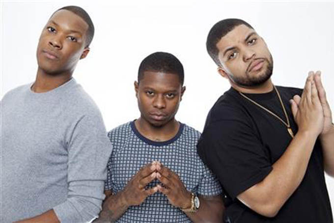 "In this Sunday, August 2, 2015 photo, actor Corey Hawkins, from left, Jason Mitchell, and O'Shea Jackson Jr. pose for a portrait in promotion of the new film ""Straight Outta Compton,"" at the Four Seasons Hotel in Los Angeles. The movie releases in U.S. theaters on Aug. 14, 2015. (Photo by Rebecca Cabage/Invision/AP)"