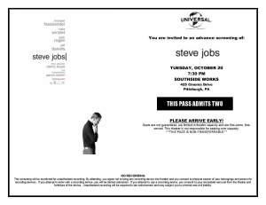 STEVE JOBS - E-PASS - PITT - 10.20